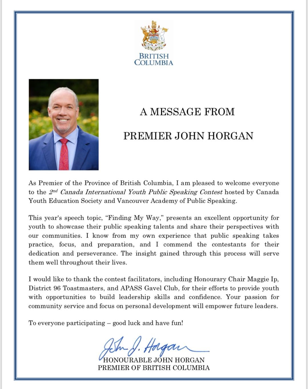 message from Premier