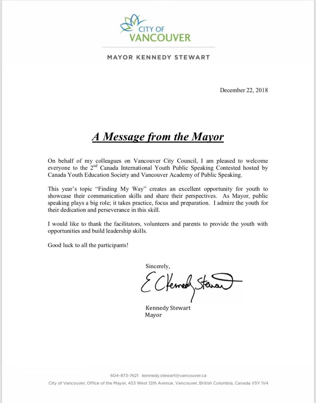 Van Mayor letter